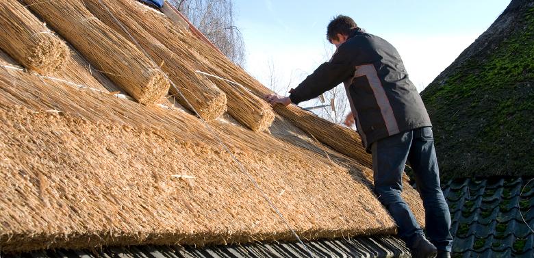 Rieten dakbedekking: hoe plaatsen?